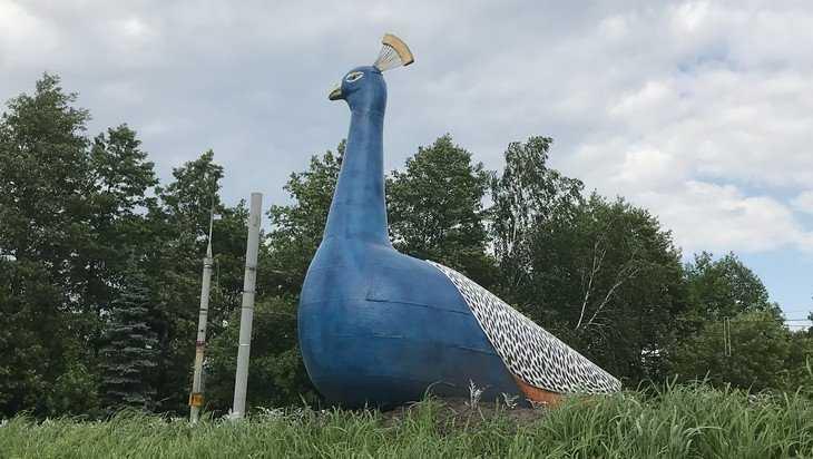 Въезд в Брянск украсила огромная жар-птица с хвостом из цветов