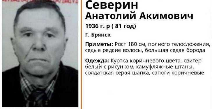 ВБрянской области начали поиски пропавшего 76-летнего Виталия Валяева