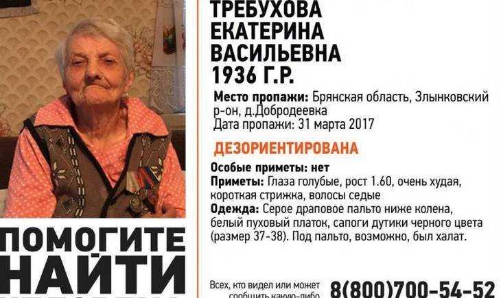 ВЗлынковском районе пропала пенсионерка Екатерина Требухова