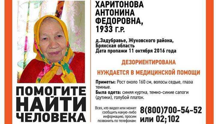 ВБрянской области продолжаются поиски пропавшей 83-летней пенсионерки