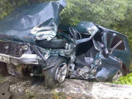 Брянский водитель снес столб и попал в больницу