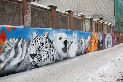В Брянске граффитчики украсили забор фабрики олимпийской символикой