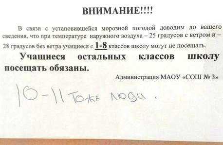 Из-за морозов некоторые школы Брянска разрешили не посещать