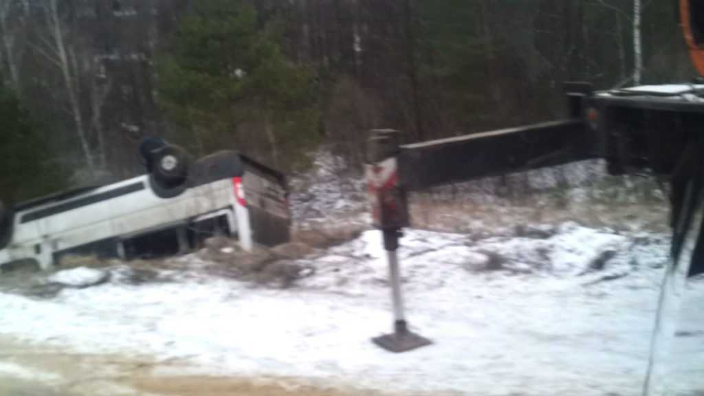 Под Брянском перевернулся микроавтобус – пострадали семь человек