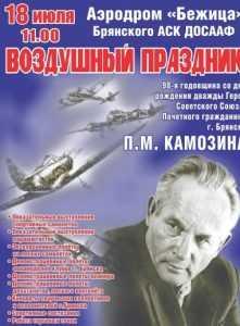 Лётный праздник в честь брянского аса Камозина пройдёт 18 июля
