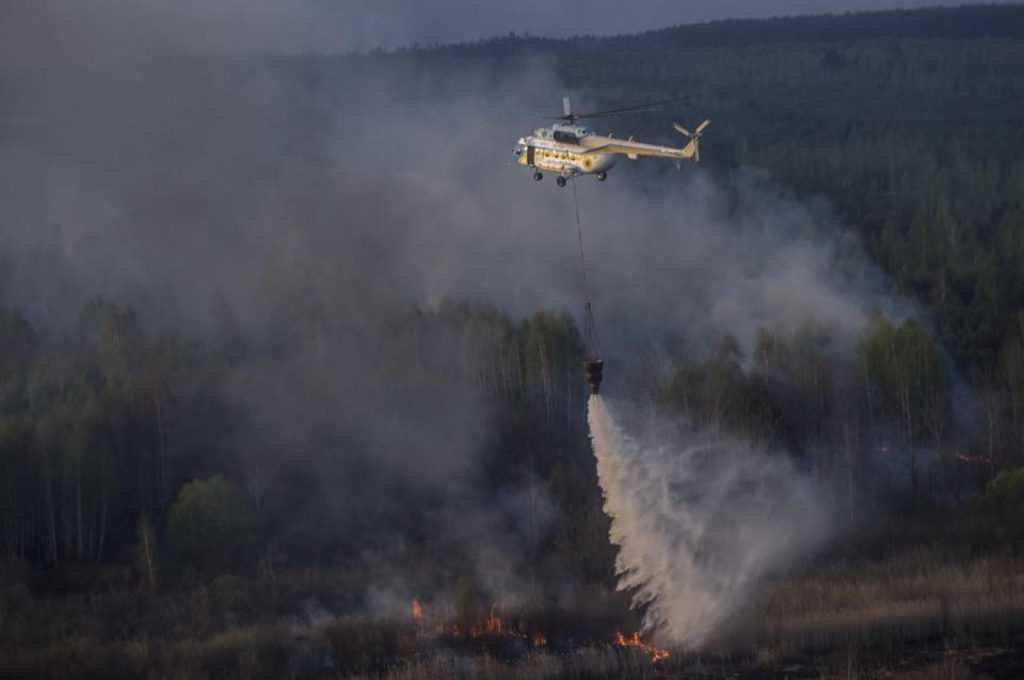 В Чернобыльской зоне четвертые сутки тушат пожар