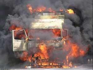 На брянской трассе сгорел «КАМАЗ»
