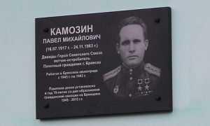 В брянском аэропорту открыли памятную доску, посвященную асу Камозину