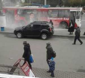 В Брянске возле автовокзала задымился троллейбус