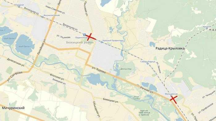 В Брянске 21 мая ограничат движение через два переезда