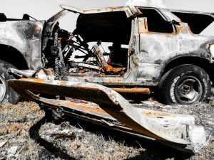В Клинцах сгорел брянский минивэн