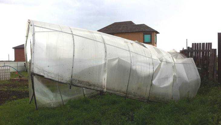 Под Брянском ураган перебросил теплицу с одного огорода на другой