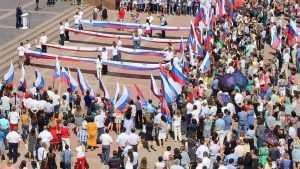 В Брянске прошел велопробег ко Дню флага России