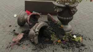 Варвары разбили вазы у памятника Георгиевскому кавалеру во Мглине