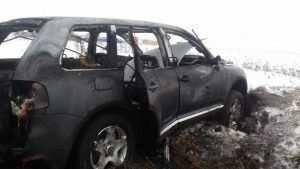 В соцсети опубликовали фото сгоревшего под Брянском Volkswagen Touareg