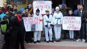 В Сельцо для оправдания осужденного Хуцишвили на митинг вывели детей