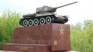 В Брянске одели в гранит постамент мемориального танка Т-34