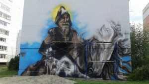 Брянский художник нарисовал легендарного Пересвета на стене дома