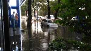 В Брянске после ливня автомобиль провалился в скрытый водой люк