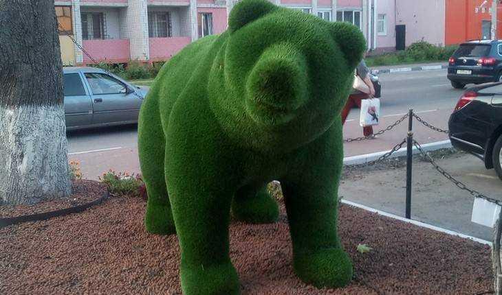 В Брянске у Кургана Бессмертия поселился зелёный медведь