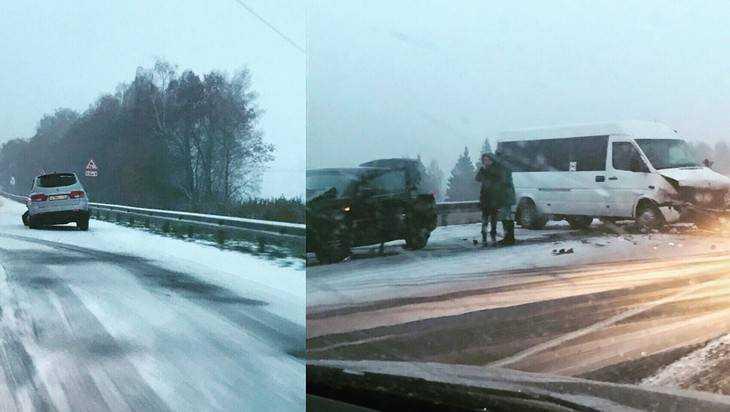 На заснеженной трассе Брянск – Новозыбков произошла массовая авария