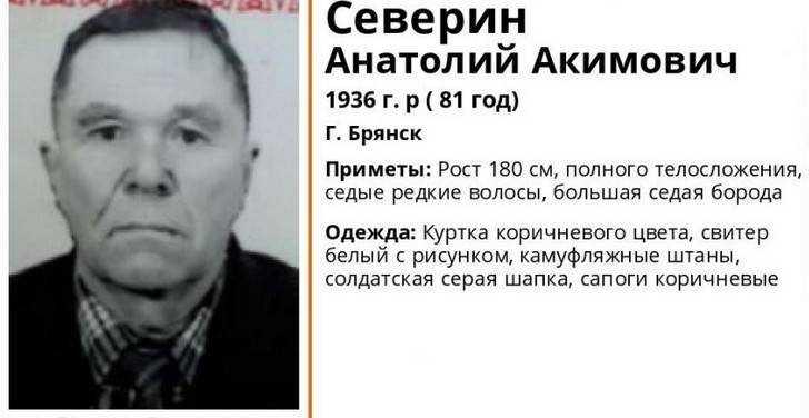 В Брянске пропал 81-летний пенсионер Анатолий Северин