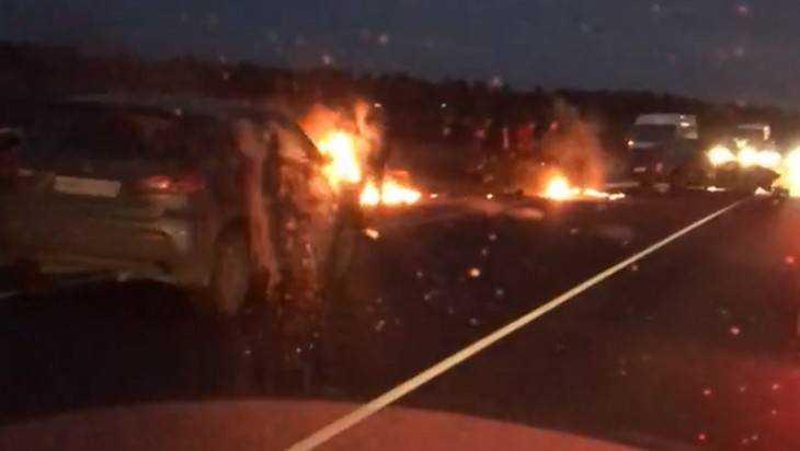 Под Брянском сняли видео ДТП с загоревшимся автомобилем