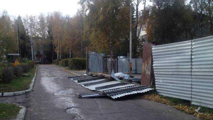В Брянске ураганный ветер повалил металлический забор и разрушил витрину