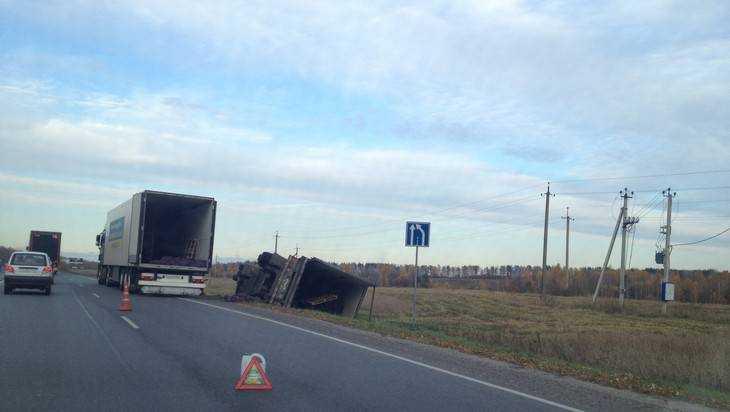 На дороге под Брянском перевернулся грузовик с картошкой
