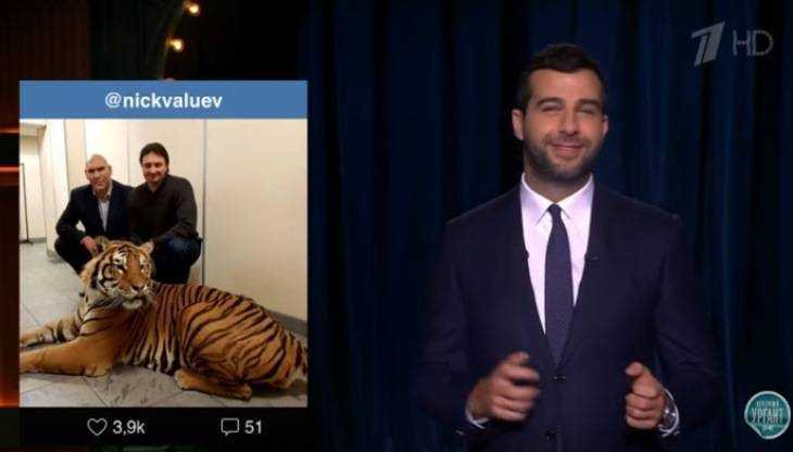 Иван Ургант пошутил над фото брянского депутата Валуева с тигром