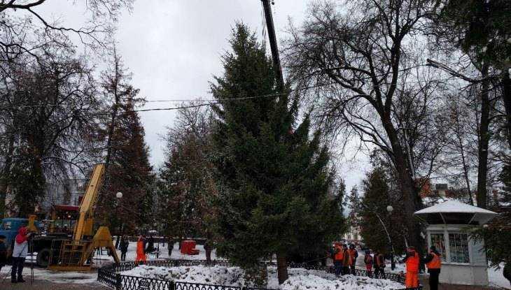 В Круглом сквере Брянска установили главную новогоднюю ёлку