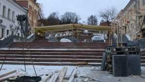 В Брянске на бульваре Гагарина подготовили гранит и фонари