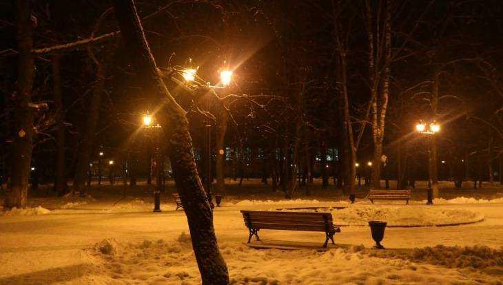В брянском парке Пушкина впервые зажгли фонари