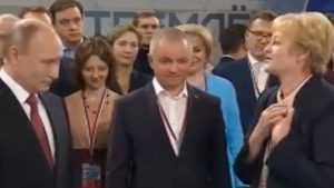 Брянский боец ОНФ Калинина смутила Путина страстным признанием в любви
