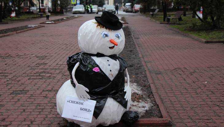 Вандалы украли и разломали 18 снеговиков в Круглом сквере Брянска