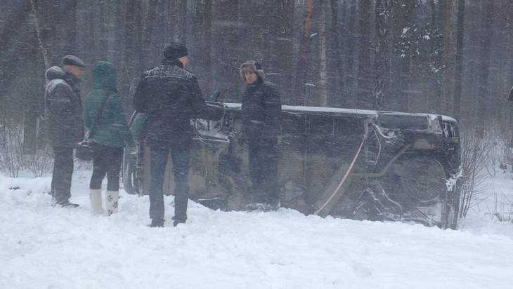 В Брянской области во время снегопада 4 автомобиля  слетели в кювет