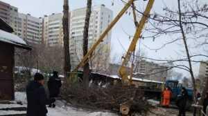 В Брянске у дома на улице Менжинского рухнула автовышка с рабочими