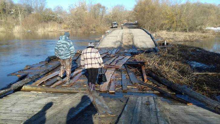 В Почепском районе паводок разрушил понтонный мост на Судости
