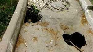 В Брянске заметили опаксный провал возле следственного изолятора