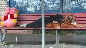 В Брянске на остановке мужчина уснул лежа на тигре