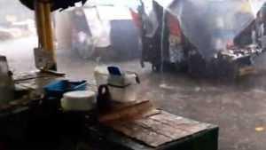 Ливень смыл одежду и фрукты с прилавков затопленного Бежицкого рынка