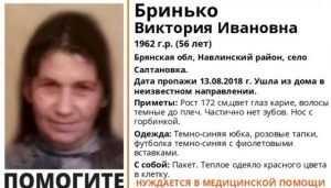 В Навлинском районе пропала без вести 56-летняя Виктория Бринько