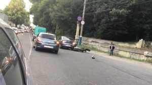 На улице Калинина в Брянске столкнулись мотоцикл и «Рено»