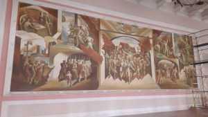 В Брянском театре драмы снова открыли монументальную роспись «Победа»