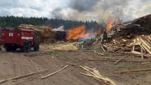 В Клетне сгорели отходы пилорамы