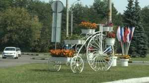 На кольце возле мясокомбината в Брянске появился велосипед с цветами