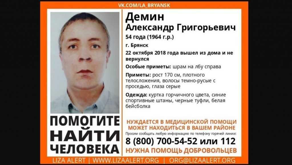 В Брянске пропавшего 54-летнего Александра Демина нашли мертвым
