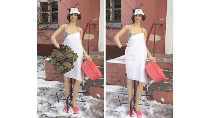 У девушки-манекена на входе в брянскую баню вырвали веник вместе с рукой