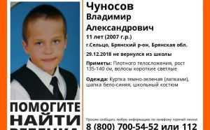 В Сельцо Брянской области пропал 11-летний школьник Владимир Чуносов