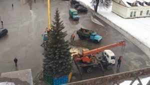 В Брянске возле ДК БМЗ установили новогоднюю ёлку